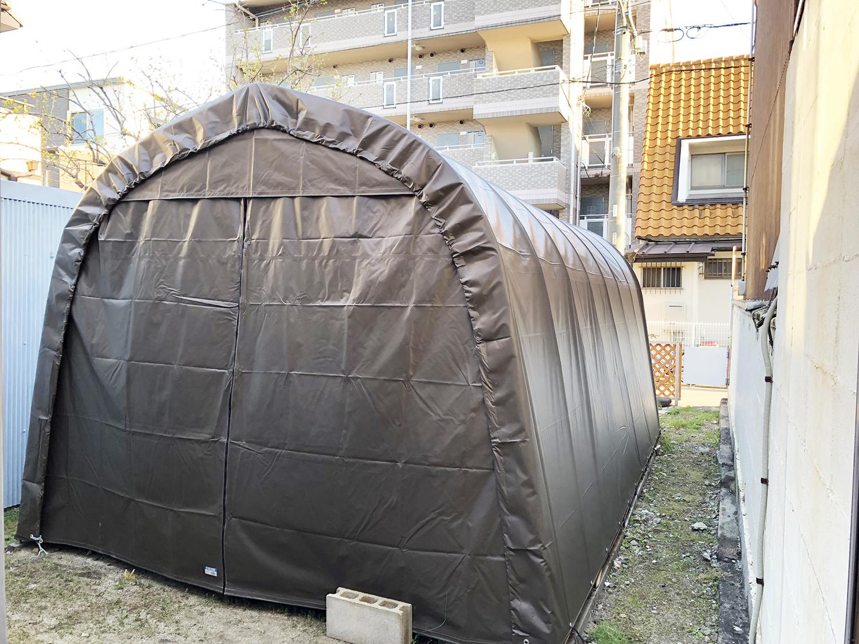 車庫用の既製品テント倉庫 愛知県名古屋市